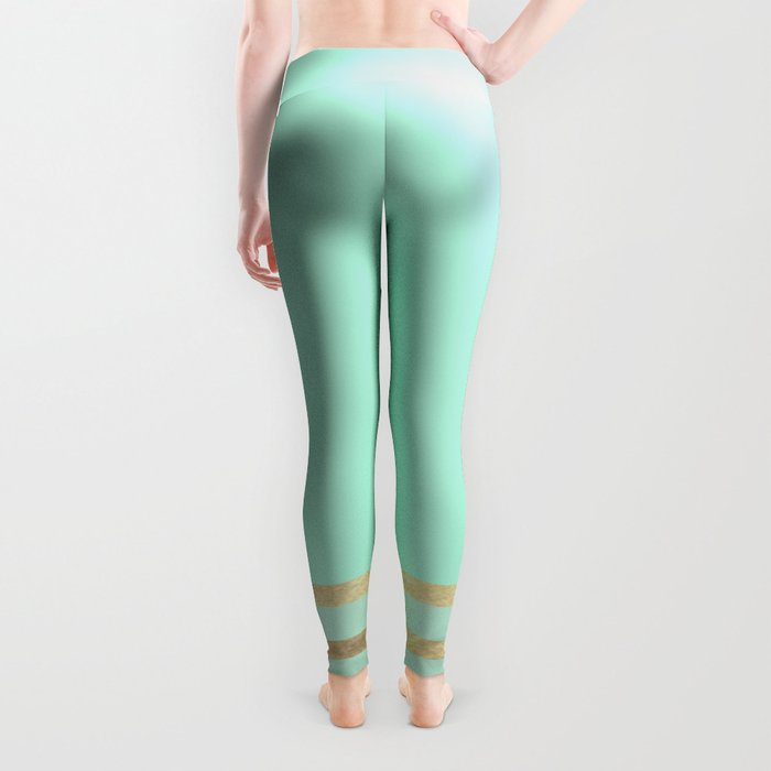 Mint and Gold stripes Leggings