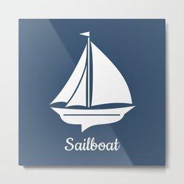 Navy Blue Nautical Sailboat Metal Print