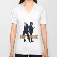 daft punk V-neck T-shirts featuring Daft Punk by joshuahillustration