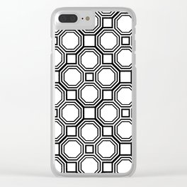 Modern Black and White Geometrical Pattern Clear iPhone Case