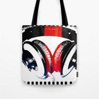 headphones Tote Bags featuring Headphones by Derek Fleener