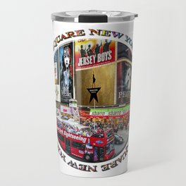 Times Square New York City (badge emblem on white) Travel Mug