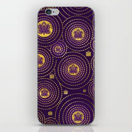 Gold and deep purple Lotus FLower iPhone Skin
