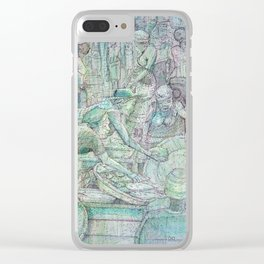 Crowded Supermarket Clear iPhone Case