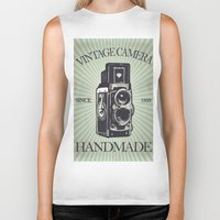 vintage camera Biker Tanks featuring Camera Vintage by Ale Ibanez