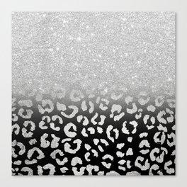 grey silver glitter ombre grey black hand drawn leopard pattern Canvas Print
