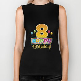 Kids Happy 8th Birthday Kids Bday Party Biker Tank
