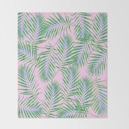 Fern Leaves Pink Throw Blanket