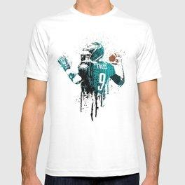 Sports art _ Nick Foles on green T-shirt
