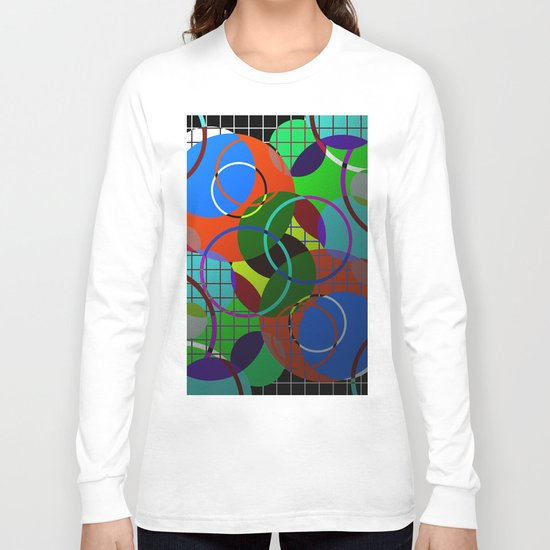 Caged Geometry - Abstract, metallic, geometric, rainbow coloured circles Long Sleeve T-shirt