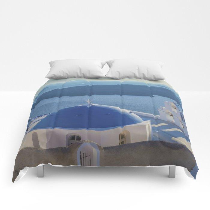 Santorini Island, Greece Comforters