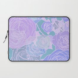 Preppy Purple and Seafoam Green Abstract Contemporary Romantic Roses Laptop Sleeve