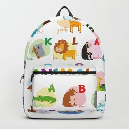 Cute cartoon zoo illustrated alphabet with funny animals. English alphabet. Backpack