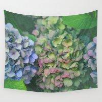 hydrangea Wall Tapestries featuring hydrangea by EnglishRose23