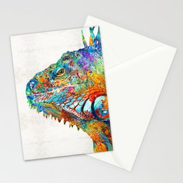 Colorful Iguana Art - One Cool Dude - Sharon Cummings Stationery Cards