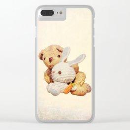 lovely teddy bear and bunny Clear iPhone Case