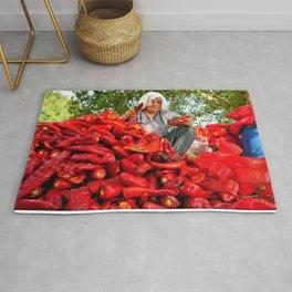 Turkish Woman Preparing Red Peppers Rug