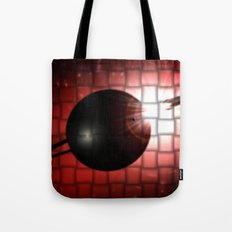 Red star and black planet. Tote Bag