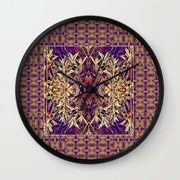 Midwestern Autumn, Foliage, Dry Plants, Purple Nature Pattern Wall Clock
