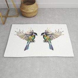 Flying Songbird Cyanistes Caeruleus Blue Tit Bird Rug