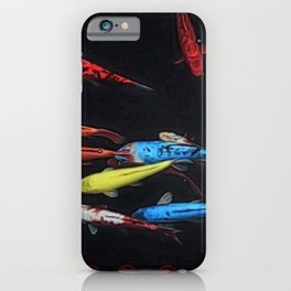 Chinese Symbols 'Peace & Family' Koi Pond Decorative Painting by Jeanpaul Ferro iPhone Case