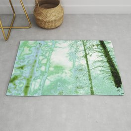 Magical forest in frosty greens Rug