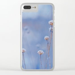 Wild White Flowers Against A Purple Background Clear iPhone Case
