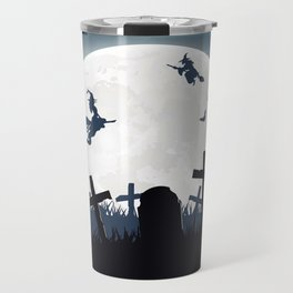 Creepy Halloween Witches On Broomsticks Flying Above Cemetery At Full Moon Ultra HD Travel Mug