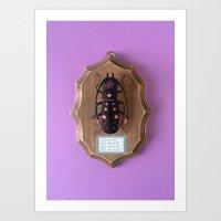 Bicorn Beetle Black Art Print