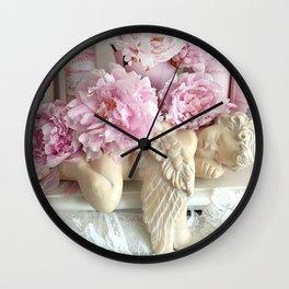 Shabby Chic Pink Peonies With Angel Cherub Wall Clock