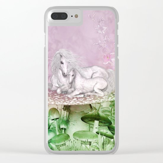 Wonderful unicorn with foal Clear iPhone Case