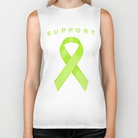 lime green Biker Tanks featuring Lime Green Awareness Ribbon by Campen Arts