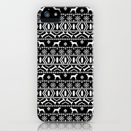 German Shorthair Pointer fair isle christmas holidays dog breed pattern black and white iPhone Case