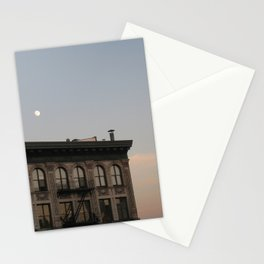 Dusk Moon over New York Building Stationery Cards
