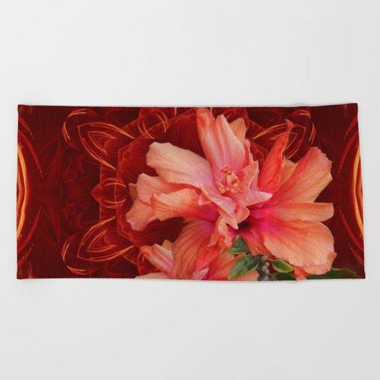 Orange hibiscus and vibrant kaleidoscope Beach Towel
