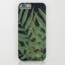 Trendy Green Palm Leaves Gold Strokes Gray Design iPhone Case