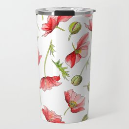 Red Poppies, Illustration Travel Mug