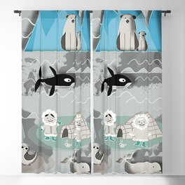 Arctic animals grey Blackout Curtain