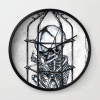 cage Wall Clocks featuring Fetus Cage by Elias Aquino