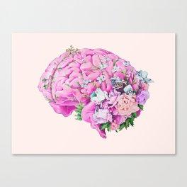Floral Brain Pale Pink Canvas Print