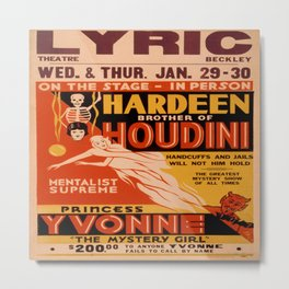 Vintage poster - Hardeenm Brother of Houdini Metal Print