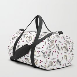 Christmas tree branches and berries - grey and burgundy Duffle Bag