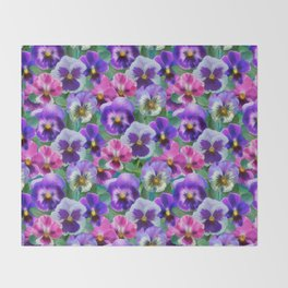 Bouquet of violets I Throw Blanket