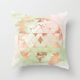 Earthen Souls Sri Yantra - Copper Rose Gold Throw Pillow