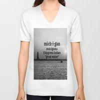 michigan V-neck T-shirts featuring Michigan by KimberosePhotography