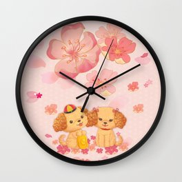 dog couple sweet sakura Wall Clock