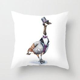 Victorian Gentleman Goose Throw Pillow