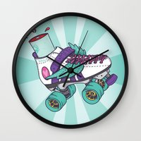 roller derby Wall Clocks featuring Roller Derby Motherf***er by Kiwii Illustration