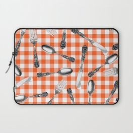 Utensils on Orange Picnic Blanket Laptop Sleeve