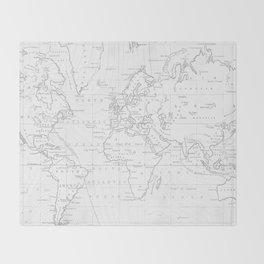Vertical Worldmap. Nordic style Throw Blanket